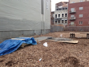 Getting ready for compost bin building at 120 Jefferson